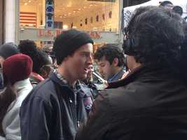 Freestyle skier Tom Wallisch of Pittsburgh answers questions from reporters.