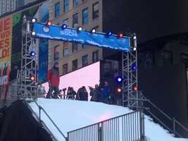The top of the ski slope in Times Square.