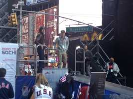 1998 Olympic silver medalist Gordy Sheer at the small luge in Times Square.