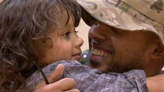 A local boy was reunited with his father after he returned home fron Afghanistan on Thursday.