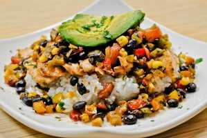 Click through to look at some tasty gluten-free options that Downtown Disney's Splitsville has to offer!Fiesta chicken rice bowl