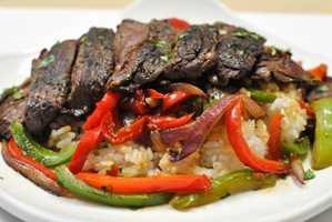 Steak fajita rice bowl