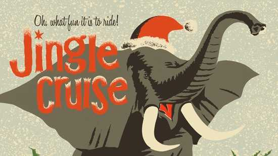"""The new poster concept for the 'Jingle Cruise' ride. """"'Jungle' all the way!"""""""