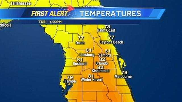 There will be a 20-degree difference in the high temperature between Tuesday and Wednesday in some Central Florida areas. See a timeline of what to expect.