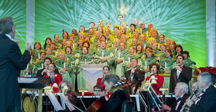 The Candlelight Processional is a holiday tradition at Epcot. Held nightly, celebrity narrators tell the Christmas story while accompanied by a 50-piece orchestra and mass choir.