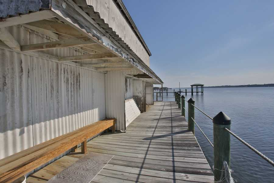 The boat house can fit a 45 ft. boat or a several smaller boats.