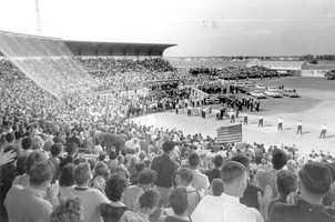Kennedy spoke before a crowd of people at Al Lopez Field in Tampa on Nov. 18, 1963.