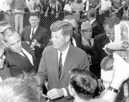 He then greeted people at Al Lopez Field after his speech on Nov. 18, 1963.