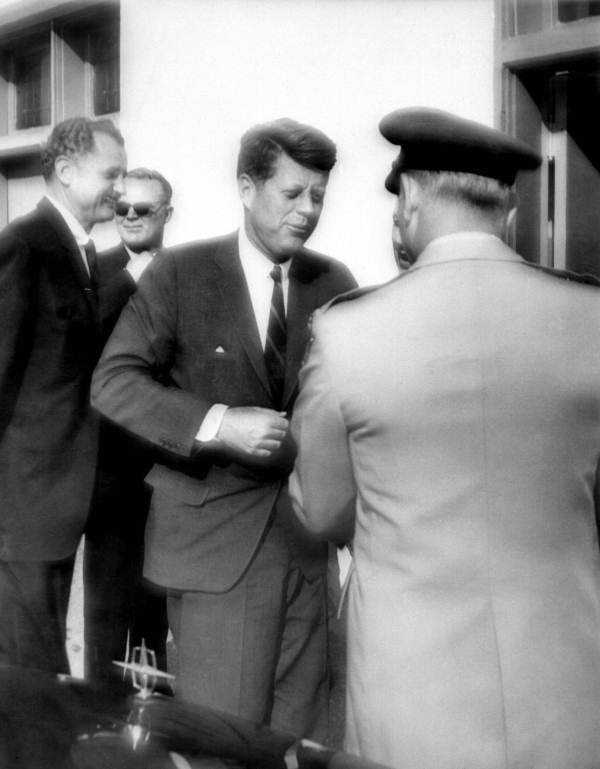 JFK meets with a National guardsman while in Tampa on Nov. 18, 1963.