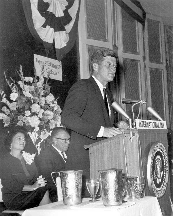 Kennedy spoke at the United Steelworkers Convention in Tampa on Nov. 18, 1963.