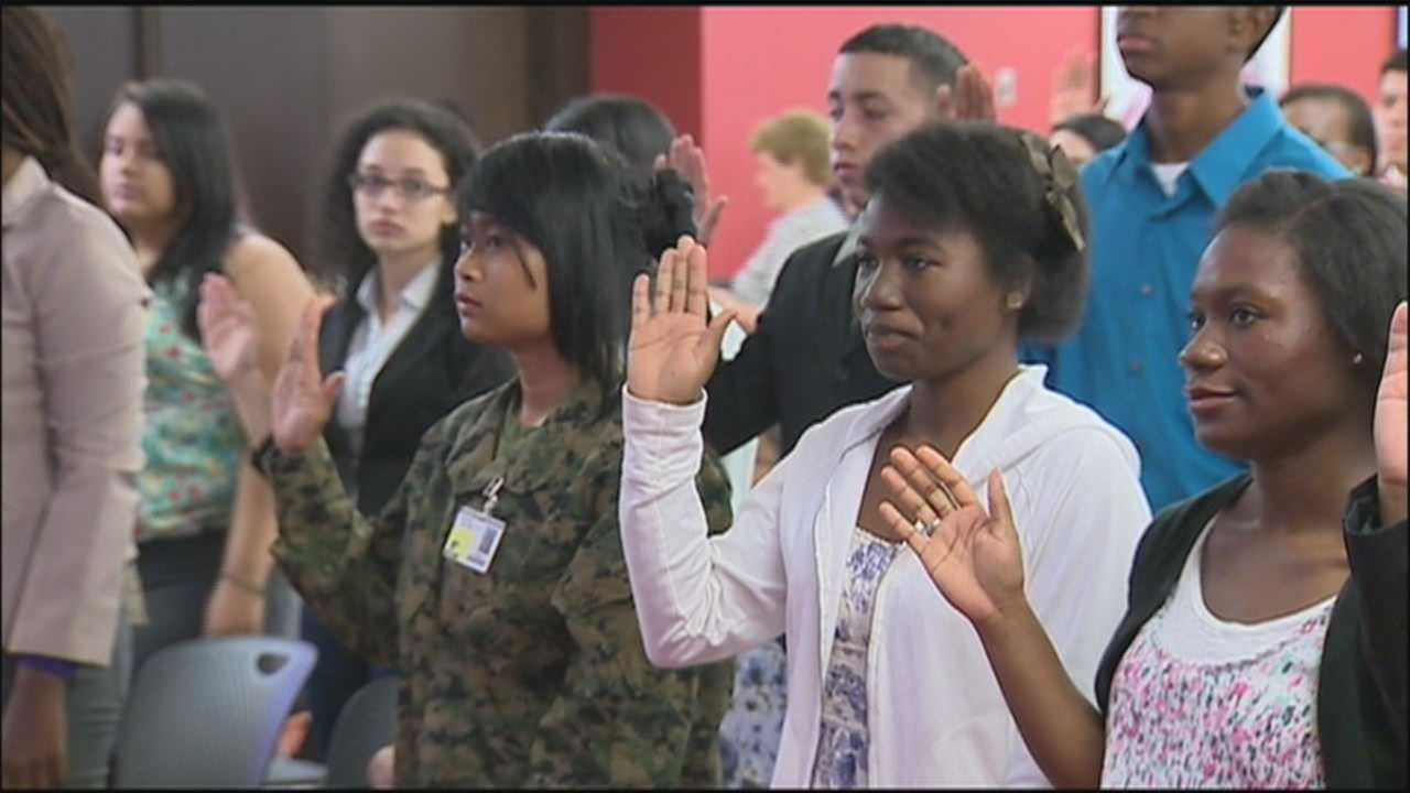 More than 90 people became US citizens Thursday at a citizenship ceremony in Orange County.