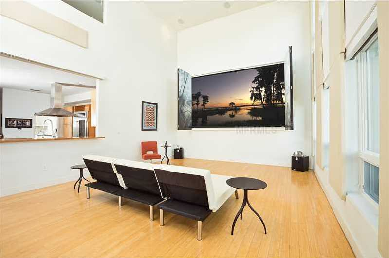 The family room doubles as a screening room.