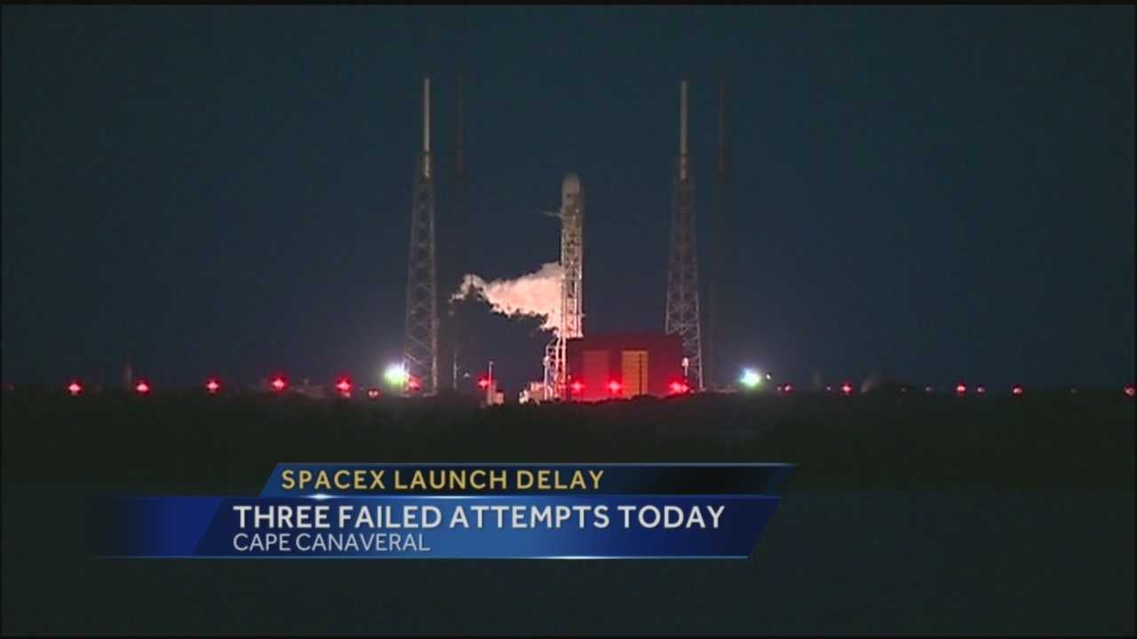 After failed attempts today, the SpaceX rocket will attempt to launch Thursday.