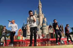 "The Wanted performs ""Santa Claus is Coming to Town"" during a taping for the Disney Parks Christmas Day Parade TV special."
