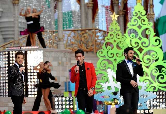 "Italian pop vocal trio IL VOLO performs ""Feliz Navidad"" Dec. 6 while taping the Disney Parks Christmas Day Parade TV special at the Magic Kingdom park."