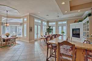 The large kitchen measures at 17 by 17 and spills over into the family room.