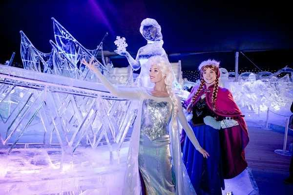 There are more than 70 sculptures at the Snow and Ice Sculpture Festival in Bruges.