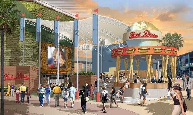 Enjoy the ballpark atmosphere at Hot Dog Hall of Fame.