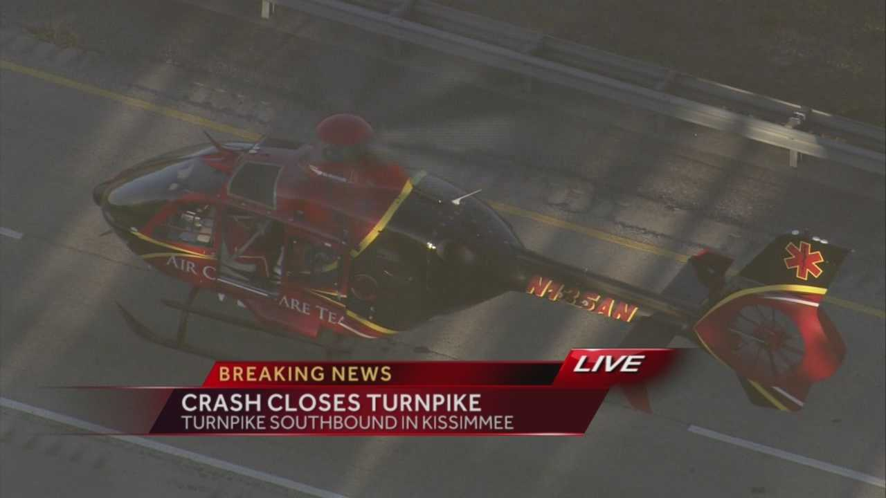 The southbound lanes of the Florida Turnpike in Kissimmee are closed after a crash.
