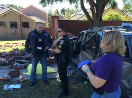 Two to three people broke into a home on Oranole Road and Druid Road before fleeing the scene and crashing their vehicle into a wall at Oranole and Woodlake roads, according to Sheriff's Office spokeswoman Kim Cannaday.
