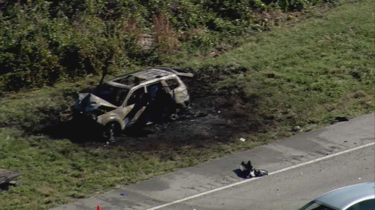 State Road 528 westbound was shut down in Brevard County after two vehicles crashed and one caught on fire.