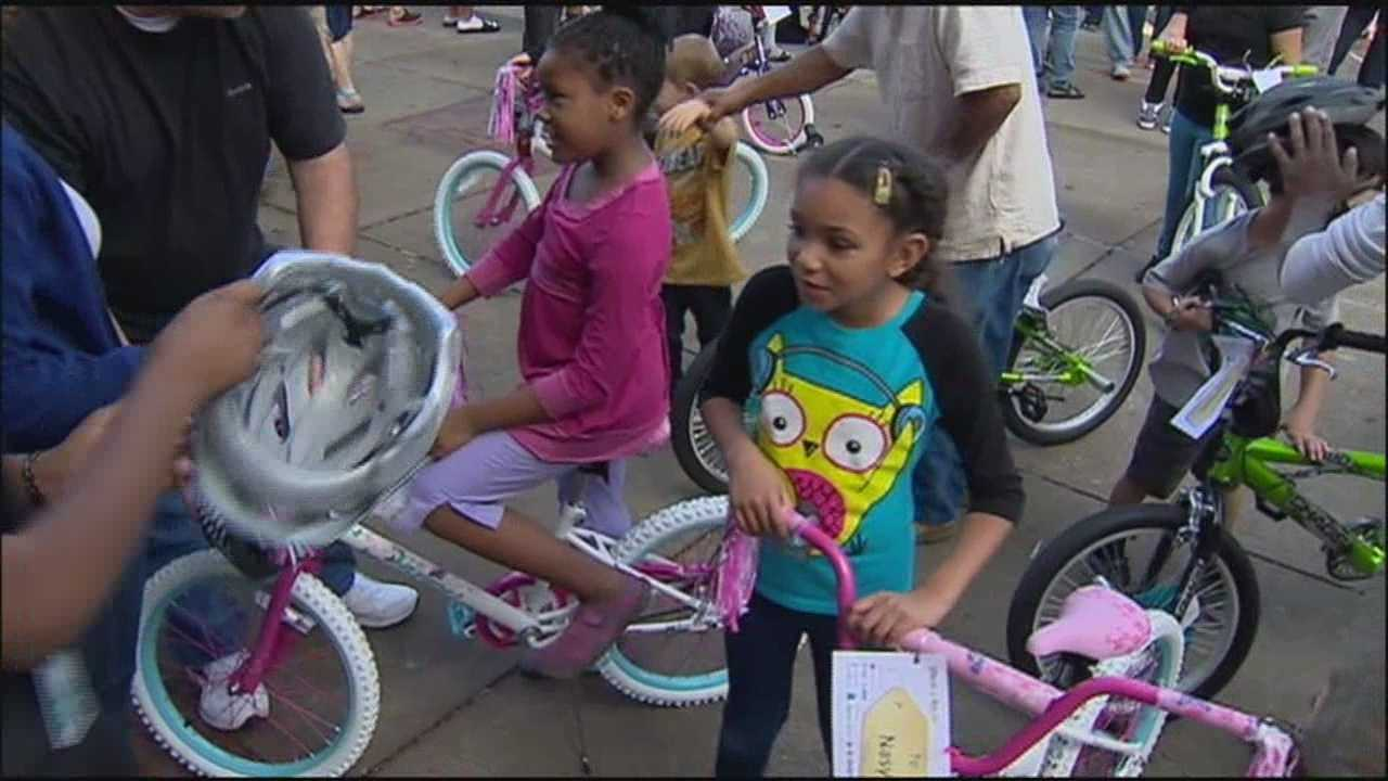 A group of kids got free bikes for Christmas Monday.
