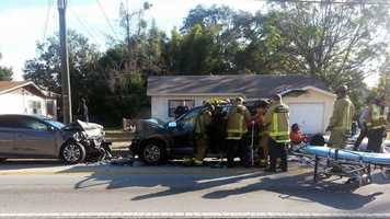 Five people were injured in a head-on crash on North Powers Drive in Orange County on Wednesday morning.