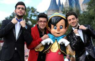 Pinocchio with members of Il Volo
