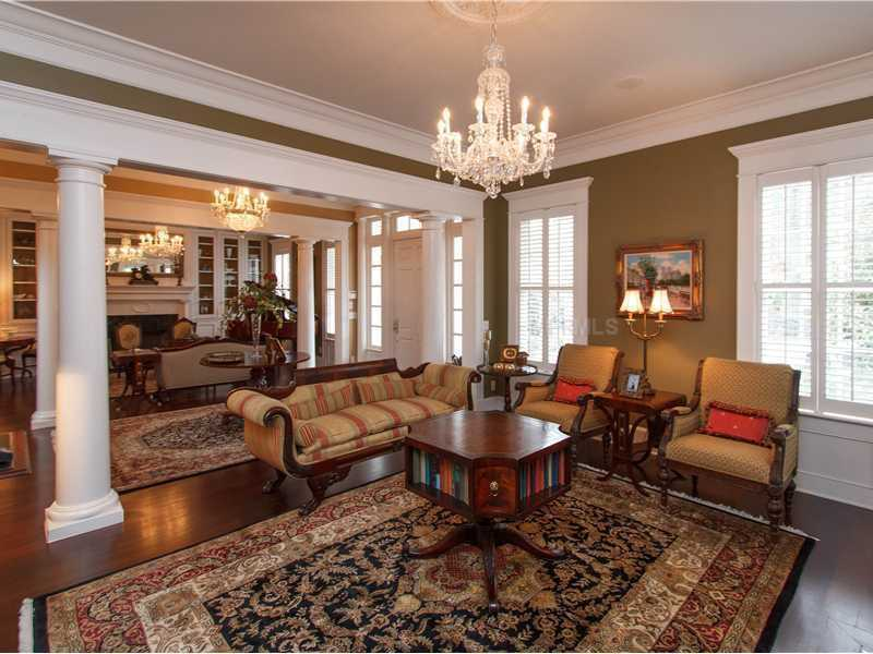 The entry is formal with two living rooms on both sides of the foyer.