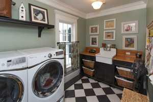Separate laundry quarters.