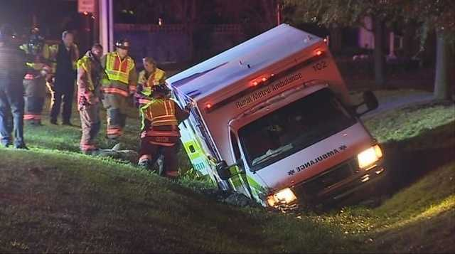 A private ambulance crashed into a ditch with a patient inside early Wednesday.