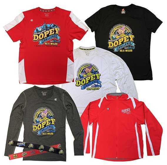 New this year, the Dopey Challenge is even more arduous than the 3-race Goofy Challenge. It is a 48.60-mile challenge that spans four days and boasts six finisher medals. These shirts are for those racers.
