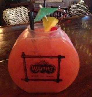 2. Waitiki's Bacardi Fish Bowl is an intoxicating 64oz Fish Bowl filled to the brim with  their potent Bacardi Rum Punch. Made with several different tropical fruit juices and Bacardi Silver Run, this Fish Bowl is meant to be shared-or try and tackle it on your own.