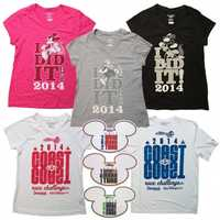 """T shirts are a popular item for the Walt Disney World Marathon weekend. """"I Did It"""" shirts complete with course maps printed on the backside will be available as well as new 2014 """"Coast to Coast Challenge"""" shirts."""