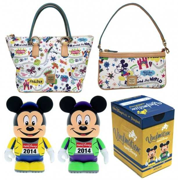 """These new Dooney & Bourke handbags were created especially for this event. The artwork features Mickey Mouse, Donald Duck and Goofy running through a magical course.There will also be a new Vinylmation """"Eachz"""" figure released that resembles Mickey Mouse in running attire."""