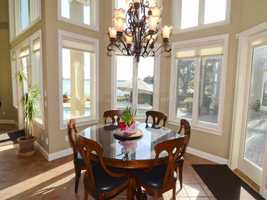 The home also features a breakfast nook with a view of the lake.