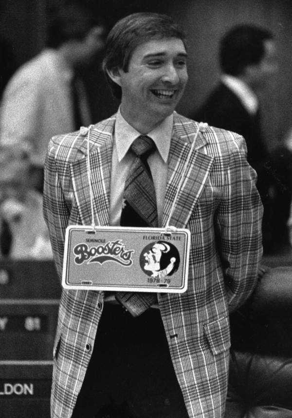 Representative J. Harold Thompson with FSU License plate.