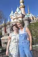 """""""Saving Mr. Banks"""" star Emma Thompson visited Disneyland in January 2014 with her daughter."""