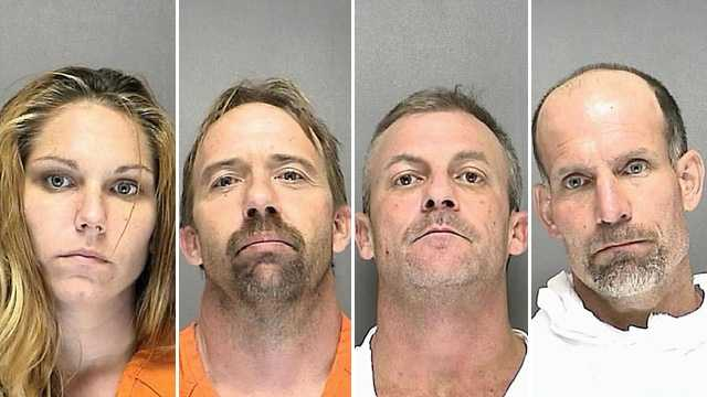 Kathryn Talbott, Bobby Sutton, Jeffrey Goodwin and Tye Lewandowski were arrested and charged with manufacturing meth on Tuesday.