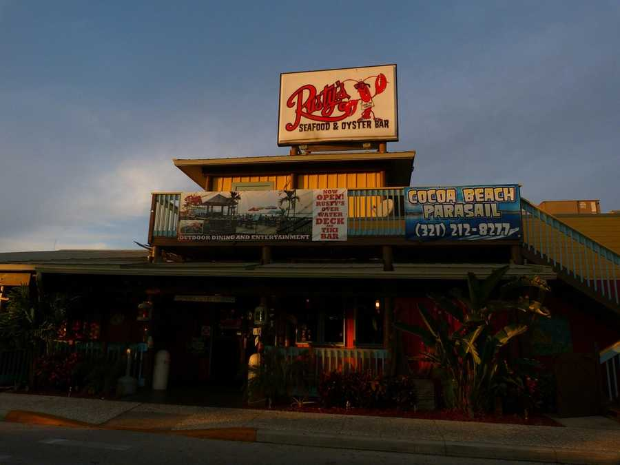 10. Rusty's Seafood and Oyster Bar is located on the beautiful waterfront harbor of Port Canaveral.  You can choose to either dine inside or on the outside patio overlooking the water. There is a full service inside bar where the bartenders will serve you cold beer and shuck you fresh oysters.