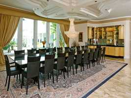 The grand dining room seats 22.