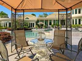 A shaded area by the pool.