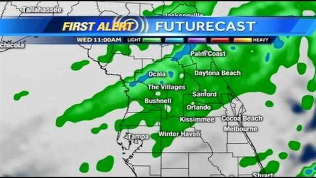 See an hour-by-hour look at rain expected on Wednesday.