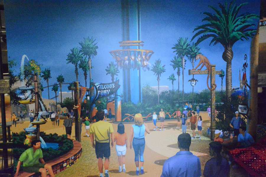 "A rendering of Busch Gardens' newest thrill ride, ""Falcon's Fury."""