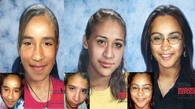 Antonia, Stephanie Guerrero & Sandra Lopez, ages now 21, 22 & 19: Missing from Tampa. Antonia's photo is shown age-progressed to 16 years, Stephanie's photo is shown aged to 17, and Sandra's photo is shown aged to 15. They were allegedly abducted on September 5, 2005 by their mother, Vivian Martinez. A felony warrant was issued for the abductor on November 22, 2005. They may still be in the local area. Antonia may wear glasses. Vivian has a tattoo of her name on her chest. She may dye her hair black.