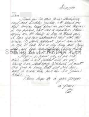 Extremely rare handwritten letter by Ted Bundy. Bundy was a serial killer who confessed to 30 homicides through seven states: $3,000