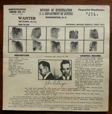 John Dillinger also known as Public Enemy Number One original FBI poster: $500