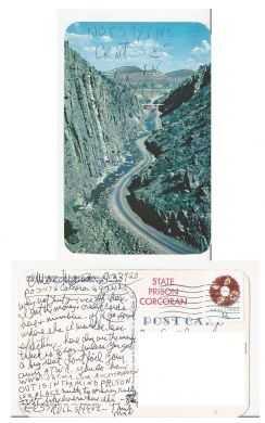 Charles Manson's handwritten postcard. Manson is an infamous American killer: $150