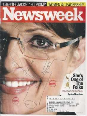 Charles Manson's signed cover of Newsweek . Manson is an infamous American killer: $95