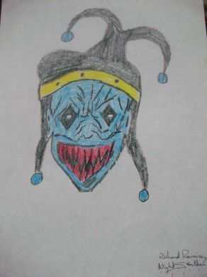 Richard Ramirez' evil joker color drawing. Ramirez is an American serial killer who was convicted of 14 known murders: $800